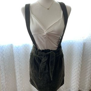 Dresses & Skirts - Olive Green Skirt Overalls With Tie Belt